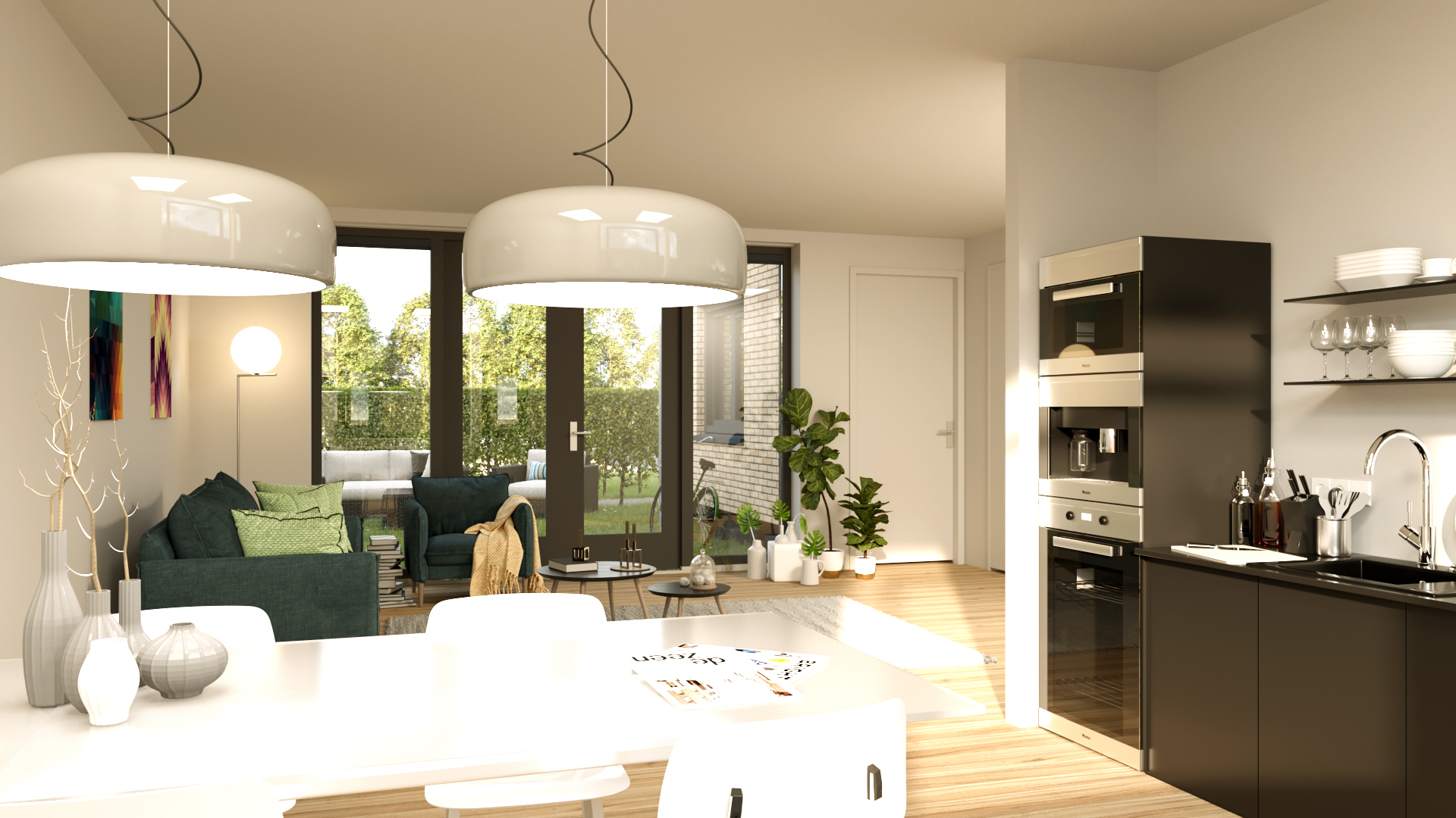 Interieur van duurzame patio bungalows woningen Dennenhof Loon op Zand